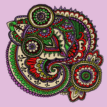 verde y morado: Vintage pattern based on traditional Asian elements Paisley. Bright green , purple, red .