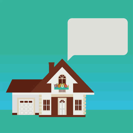 lowrise: Country house in a European style. Composition with frame for information. Illustration