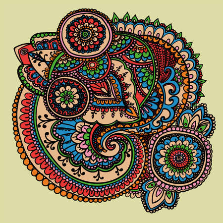 iranian: Vintage pattern based on traditional Asian elements Paisley. Warm pink, blue and green.