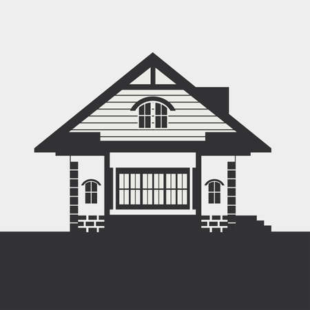 mansard: Silhouette drawing of a country house. Dark figure on a light background.