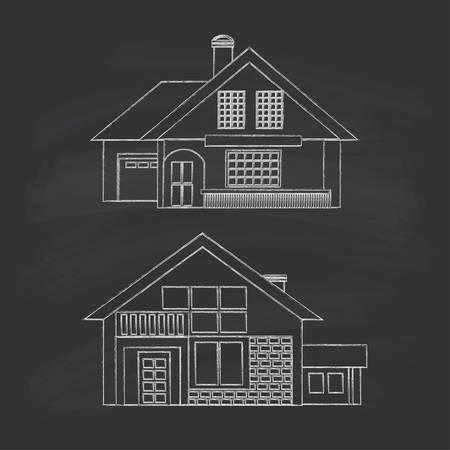 Silhouette maisons dessin d'été. Craie sur un tableau noir.