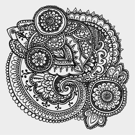 disegni cachemire: Modello d'epoca sulla base di elementi tradizionali asiatici Paisley. Contorno disegno in bianco e nero.