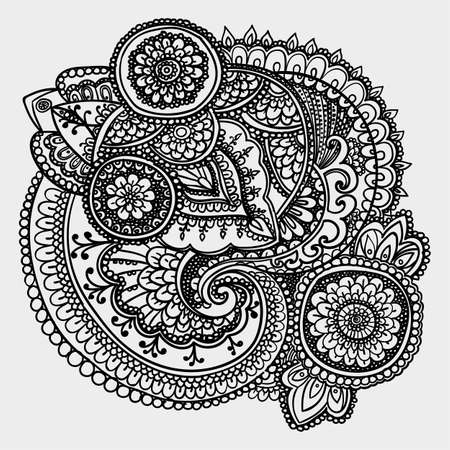 paisley: Vintage pattern based on traditional Asian elements Paisley. Contour black and white drawing .