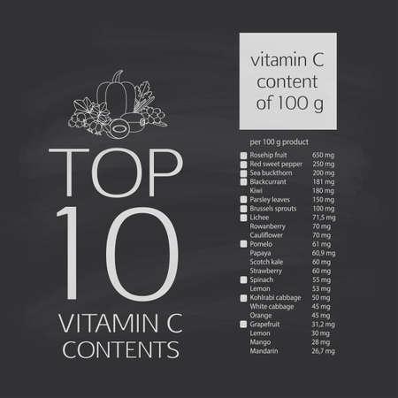 ascorbic: Top 10 del m�ximo contenido de vitamina C en vegetales, frutas y bayas. La tabla de contenidos de �cido asc�rbico. Contour imagen.