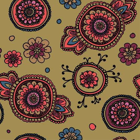 textil: patrón de la vendimia sin fisuras con motivos florales. Sobre la base de una tradicional textiles orientales. Ocre.
