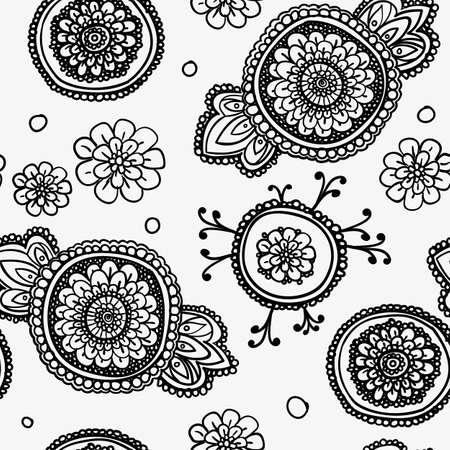 textil: Patrón de la vendimia sin fisuras con motivos florales. Sobre la base de un textiles orientales tradicionales.