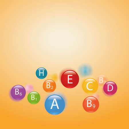 ascorbic: Essential vitamins necessary for human health. Abstract colorful illustration. Blurry yellow background.