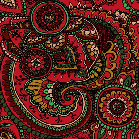rosso verde: Seamless pattern based on traditional Asian elements Paisley. Red, Green.