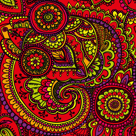 bright colors: Seamless pattern based on traditional Asian elements Paisley. Red, yellow , orange . Bright colors. Illustration