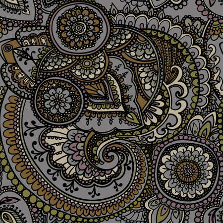 traditional pattern: Seamless pattern based on traditional Asian elements Paisley. Earthy tones . Grey and gold . Illustration
