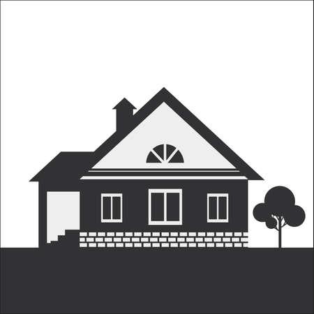 silhouette maison: Dessin Silhouette d'une maison de campagne. Silhouette sombre sur un fond clair. Illustration