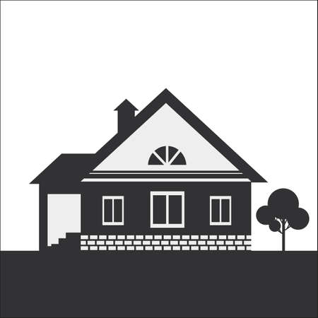 lowrise: Silhouette drawing of a country house. Dark figure on a light background.