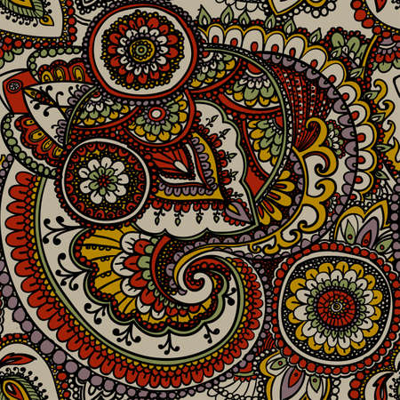 muted: Seamless pattern based on traditional Asian elements Paisley. Muted colors . Illustration