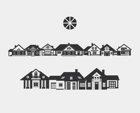 lowrise: Provincial street. Border of silhouettes of different small houses. The architecture of a small town or in the countryside. Illustration