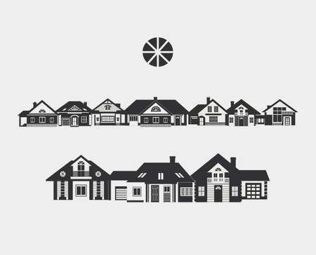 Rue provinciale. Bordure de silhouettes de différentes petites maisons. L'architecture d'une petite ville ou à la campagne. Vecteurs