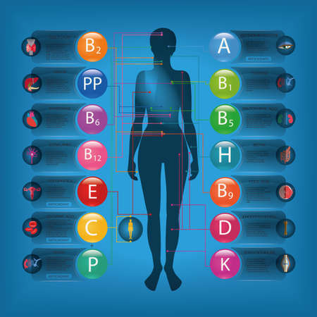 Effect of vitamins on the organs and systems of the human body. Name and brief description of the essential vitamins. Visual scheme.