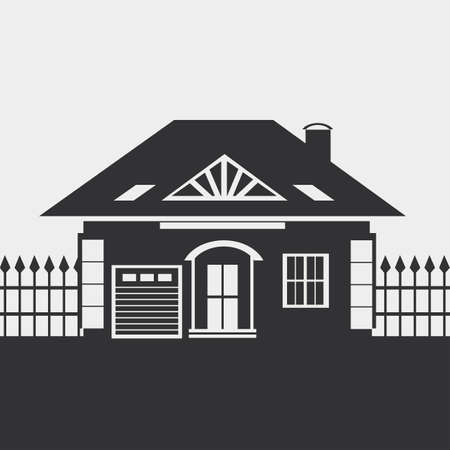 small country town: One-storey house with an attic. Provincial, Country-house. Silhouette. Illustration