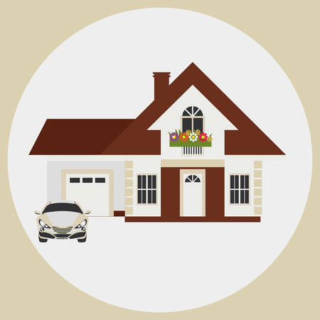 mansard: Provincial house with a garage and a car. The image on a light background.