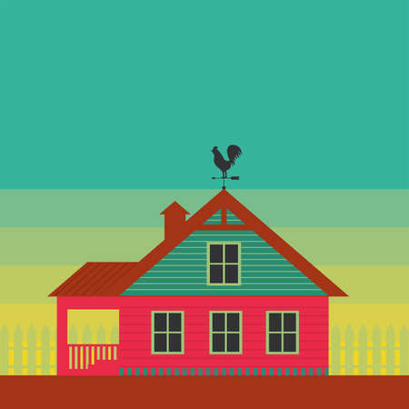 mansard: Country life. House with weather vane on the roof. Stylized color images.