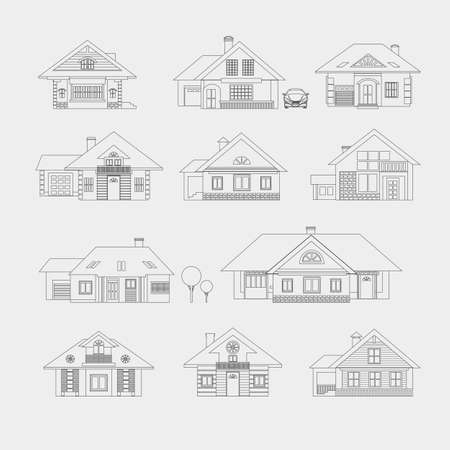 dacha: Set of single-storey houses with attics provincial. Front view. Various architectural solutions. Linear drawing on a light background. Illustration