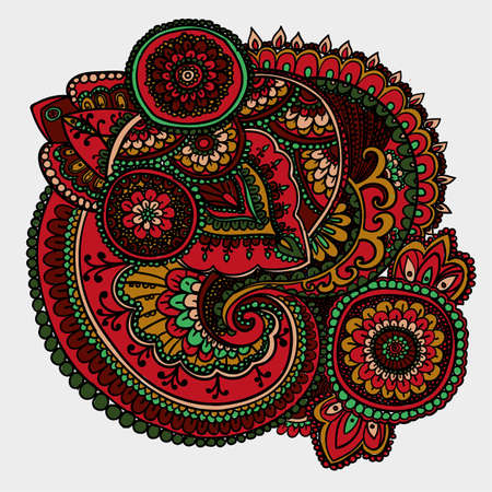 iranian: Vintage pattern based on traditional Asian elements Paisley. Dark red and green. Illustration