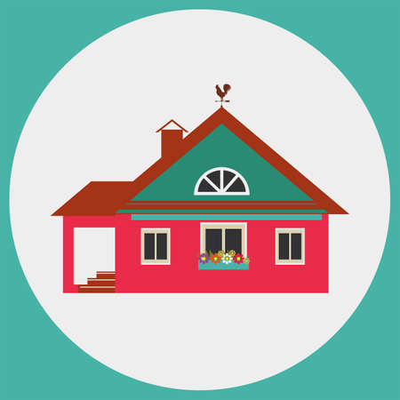 mansard: Suburban life. House with weather vane on the roof. Stylized color images. Illustration