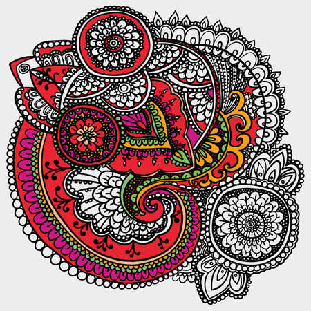 partially: Vintage pattern based on traditional Asian elements Paisley. Partially painted outline drawing. Purple and red .
