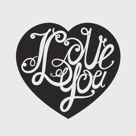 intimate: Design lettering I love you. Hand drawing, an individual font. Twisted decorative letters. Light in the dark.