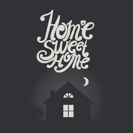 intimate: Design lettering Home Sweet Home. Hand drawing, an individual font. Typographic composition in the night at home. Illustration
