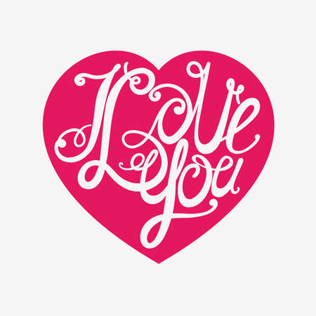 intimate: Design lettering I love you. Hand drawing, an individual font. Twisted decorative letters.