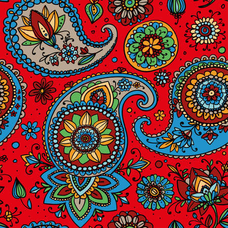 traditional pattern: Seamless pattern based on traditional Asian elements Paisley. Bright multi-colored pattern on a red background.