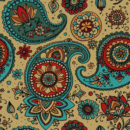ocher: Seamless pattern based on traditional Asian elements Paisley. Ocher and gray-blue.