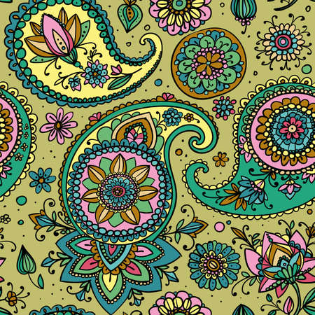 pastel shades: Seamless pattern based on traditional Asian elements Paisley. Pastel shades - gold, green, pink