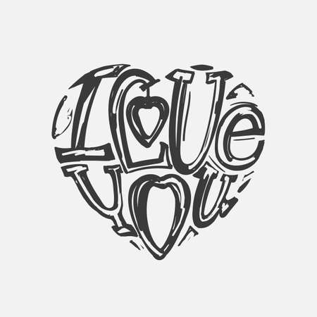 declaration of love: Design lettering I love you. Hand drawing, an individual font. The composition of the letters in the shape of a heart. Careless style.
