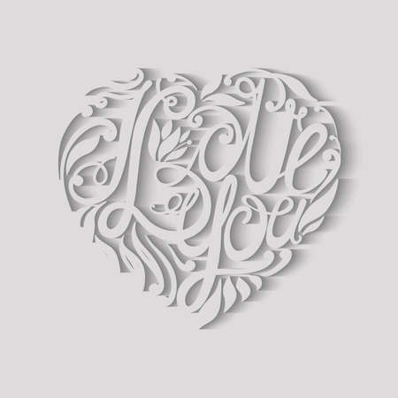 beloved: Design lettering I love you. Hand drawing, an individual font. Composition of letters and decorative elements in the shape of a heart. The volumetric image. Illustration