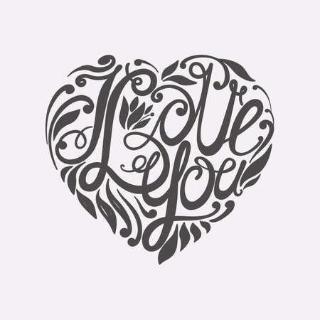 beloved: Design lettering I love you. Hand drawing, an individual font. Composition of letters and decorative elements in the shape of a heart. Dark to light.