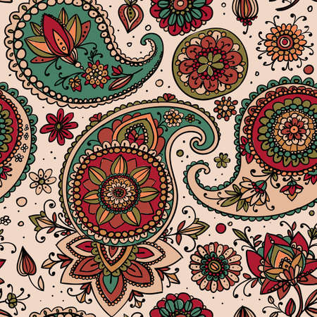 dusty: Seamless pattern based on traditional Asian elements Paisley. Dusty pink and blue on a light background. Illustration