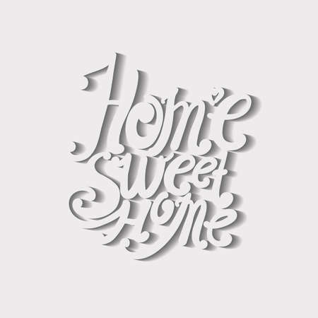 intimate: Design lettering Home Sweet Home. Hand drawing, an individual font. The composition of the decorative letters. Volumetric image.