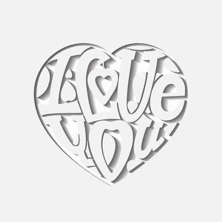 """Conception lettrage «Je vous aime."""" Dessin à la main, une police individuelle. La composition des lettres sous la forme d'un c?ur. L'image volumétrique, ton léger."""