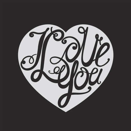 intimate: Design lettering I love you. Hand drawing, an individual font. Twisted decorative letters. Dark to light.