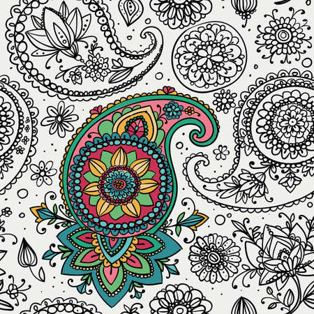 partly: Seamless pattern based on traditional Asian elements Paisley. Partly colored contour drawing. Illustration