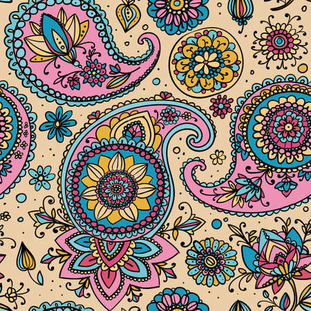 retro patterns: Seamless pattern based on traditional Asian elements Paisley. Pastel colors: pale pink and blue.