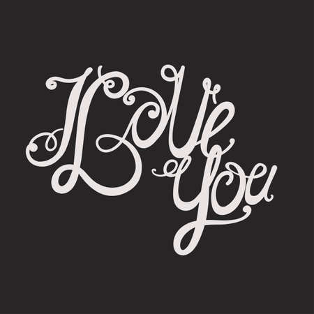 intimate: Design lettering I love you. Hand drawing, twisted individual font. Light in the dark.