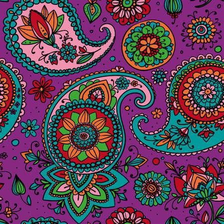 伝統的なアジア的な要素ペイズリーに基づくシームレスなパターン。明るい色: 紫、オレンジ、青、緑。  イラスト・ベクター素材