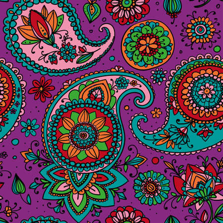 motif: Seamless pattern based on traditional Asian elements Paisley. Bright colors: purple, orange, blue, green. Illustration