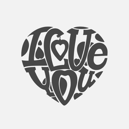 intimate: Design lettering I love you. Hand drawing, an individual font. The composition of the letters in the shape of a heart. Dark letters on a light background.