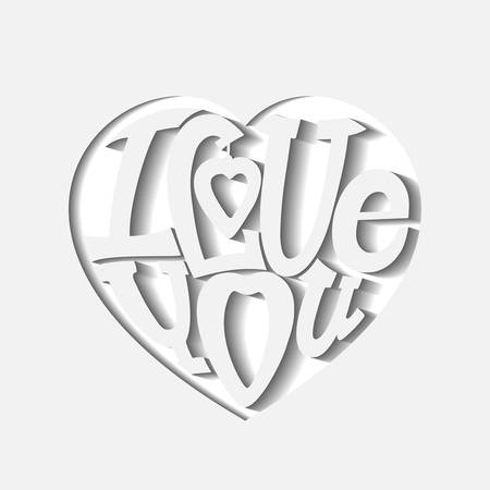 intimate: Design lettering I love you. Hand drawing, an individual font. Composition of ornamental letters in the shape of a heart. The volumetric image.
