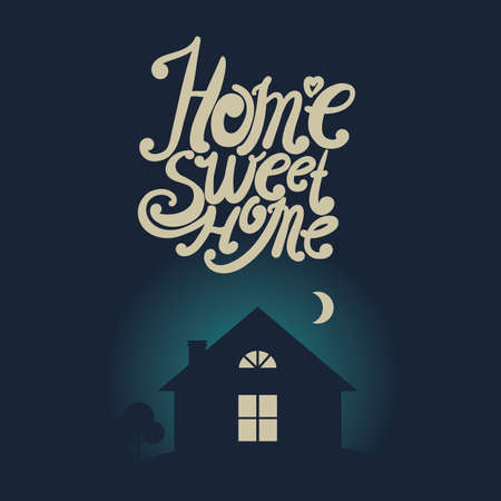 intimate: Design lettering Home Sweet Home. Hand drawing, an individual font. Picture in vintage style.