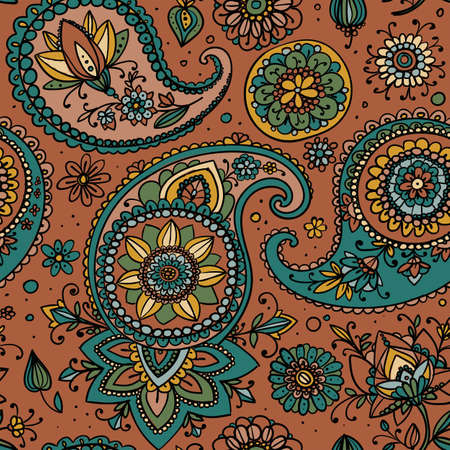 subdued: Seamless pattern based on traditional Asian elements Paisley. Subdued brown and blue.