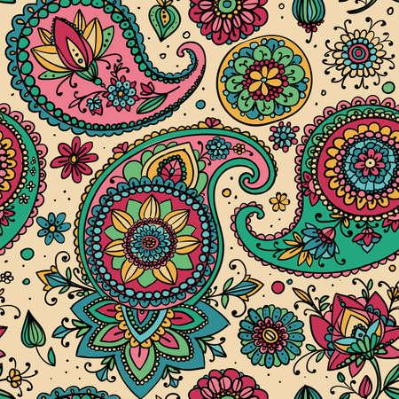 pastel shades: Seamless pattern based on traditional Asian elements Paisley. Pastel shades. Illustration